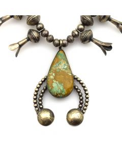 "Betty Yellowhorse - Navajo Turquoise and Silver Squash Blossom Necklace c. 1980s, 24"" length"