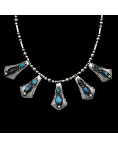 "Sam Patania - Bisbee Turquoise and Sterling Silver Beaded Necklace, 20"" length, (J90349B-0620-001)"