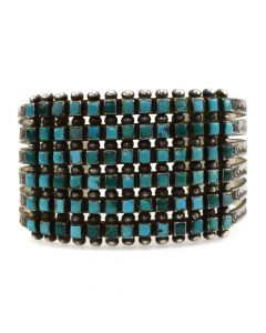 Zuni Petit Point Turquoise and Silver Stamped Row Bracelet c. 1930s, size 6.5