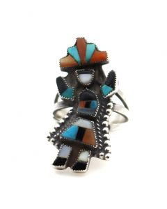 Zuni Multi-Stone Channel Inlay and Silver Ring with Rainbow God Design c. 1930-40s, Size 4.5 (J90358B-0421-003B)