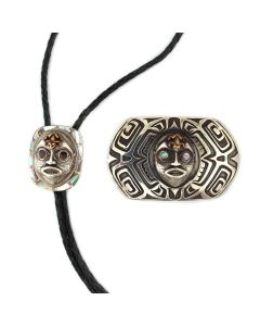 Northwest Coast Mother of Pearl and Silver Belt Buckle and Bolo Tie Set c. 1980s (J90363B-0821-001)1
