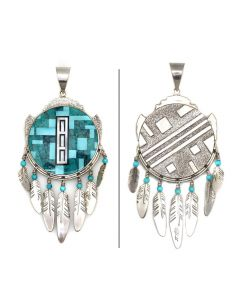 """Ray Tracey (b. 1953) and Knifewing Segura - Navajo/Chiricahua Apache Contemporary Multi-Stone Mosaic Inlay and Sterling Silver Pendant with Feather Dangles, 5.25"""" x 2.25"""" (J90365-0421-005)"""