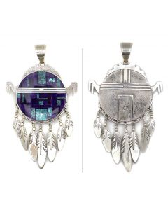 """Ray Tracey (b. 1953) and Knifewing Segura - Navajo/Chiricahua Apache Contemporary Multi-Stone Mosaic Inlay and Sterling Silver Kachina Pendant with Feather Dangles, 5"""" x 2.75"""" (J90365-0421-006)"""