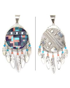 """Ray Tracey (b. 1953) and Knifewing Segura - Navajo/Chiricahua Apache Contemporary Multi-Stone Inlay and Sterling Silver Pendant with Feather Dangles, 5.25"""" x 2.25"""" (J90365-0421-007)"""