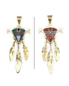 """Ray Tracey (b. 1953) and Knifewing Segura - Navajo/Chiricahua Apache Contemporary Multi-Stone Mosaic Inlay and 14Kt Gold Pendant with Feather Dangles, 3.75"""" x 1.5"""" (J90365-0421-008)"""