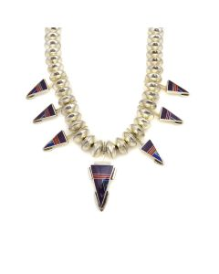 """Ray Tracey (b. 1953) and Knifewing Segura - Navajo/Chiricahua Apache Contemporary Multi-Stone Micro Inlay and Sterling Silver Beaded Necklace with Arrow Design, 20"""" length (J90365-0421-016) 1"""