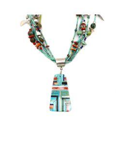 "Santo Domingo (Kewa) Contemporary 5-Strand Multi-Stone and Silver Beaded Treasure Necklace, 32"" length (J90365-0421-020) 1"
