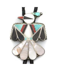 "Zuni Multi-Stone Channel Inlay, Silver, and Leather Bolo Tie with Thunderbird Design c. 1960s, 3"" x 2.25"" (J90377A-1020-003)"