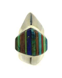Charles Loloma - Hopi Multi-stone Inlay and Silver Ring c. 1976-77, size 6.5