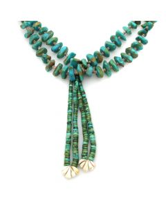 """Navajo Turquoise, Shell, and Heishi Necklace with Joclas c. 1940s, 15.5"""" length (J90427B-0720-004)"""