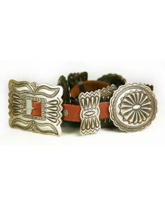 "Navajo Silver and Leather Concho Belt c. 1940s, 30-34"" waist (J90497-1014-001)"