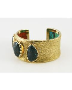 SOLD Charles Loloma - Hopi Lander Blue Turquoise and 14K Gold Bracelet with Interior Stone Inlay