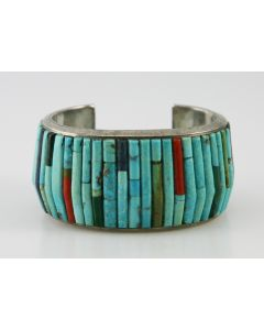 SOLD Charles Loloma - Hopi Multi-Stone Inlay and Silver Bracelet