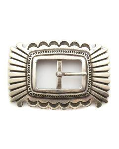 "Fidel Bahe - Navajo Silver Stamped Belt Buckle c. 1970-80s, 2"" x 3"""