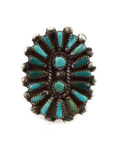 Zuni Petit Point Turquoise and Silver Ring c. 1950s, size 4.5