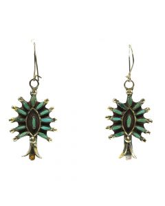 "Zuni Petit Point Turquoise and Silver Squash Blossom Earrings c. 1960s, 1.75"" x 0.75"""