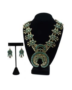 "Calvin Eustace (1917-2007) - Zuni Petit Point Turquoise and Silver Squash Blossom Necklace and Earrings Set c. 1960s, 30"" length (J90591-1019-008)"