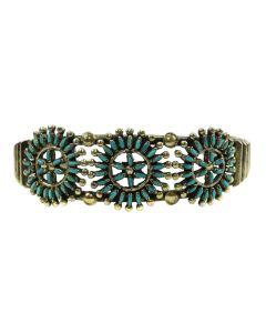 Bernice Tekala - Zuni Petit Point Turquoise and Silver Bracelet c. 1950s, size 6 (J90591-1019-019)
