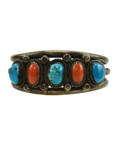Navajo Turquoise, Coral, and Silver Bracelet with Rope Design c. 1950s, size 6.5