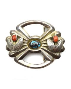 "L. Burnside - Navajo Turquoise, Coral, and Silver Sandcast Belt Buckle c. 1960s, 3"" x 3.75"""