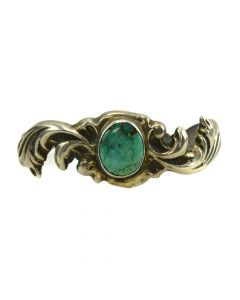 Navajo Turquoise and Silver Sandcast Bracelet c. 1950s, size 6