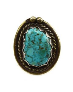 Navajo Turquoise and Silver Ring with Rope Design c. 1950s, size 5.75