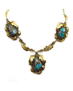 """Andy Lee Kirk (1947-2001) - Navajo/Isleta Morenci Turquoise, Silver and Gold-overlay Necklace with Flower and Leaf Design c. 1970s, 16"""" length (J90591-1019-042)"""