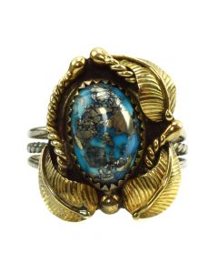 Attributed to Andy Lee Kirk (1947-2001) - Navajo/Isleta Morenci Turquoise, Silver and Gold-overlay Ring with Flower and Leaf Design c. 1970s, size 4 (J90591-1019-045)