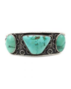 Navajo Turquoise and Silver Bracelet c. 1920s, size 6.5 (J90690-0514-001)