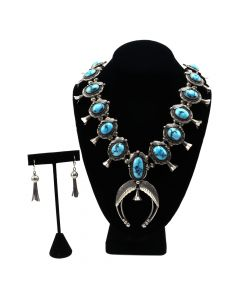 Roy Vandever (1936-2009) - Navajo Persian Turquoise and Silver Squash Blossom Necklace and Earrings Set c. 1970-80s (J90760A-0220-001)