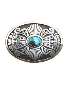 "Jason Takala (b. 1955) - Hopi Turquoise and Silver Overlay Belt Buckle c. 1970-80s, 1.5"" x 2.25"" (J90762A-0320-001)"