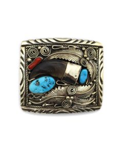 """Mike Thomas Jr. - Navajo Turquoise, Coral, and Silver Belt Buckle with Bear Claw and Floral Design c. 1960s, 2.75"""" x 3"""" (J90814-0421-014)"""