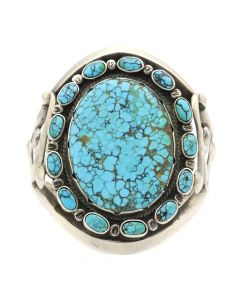 Navajo Number 8 Turquoise and Silver Bracelet c. 1940-50s, size 7 (J90823B-0620-002)