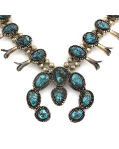 "Navajo Turquoise and Silver Squash Blossom Necklace c. 1950-60s, 26"" length"
