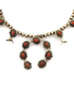 "Navajo Coral and Silver Childs Squash Blossom Necklace c. 1960s, 16"" length"