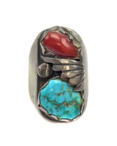 Percy J. Tsadiasi - Zuni Turquoise, Coral and Silver Ring