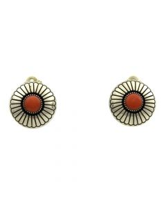 "Lee Yazzie - Navajo Coral and Silver Shadowbox Clip-on Earrings c. 1970s, 0.75"" x 0.75"""