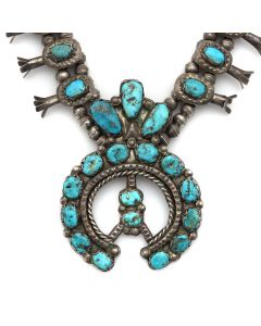 "Navajo Turquoise and Silver Squash Blossom Necklace c. 1930-40s, 24"" length (J90848B-0620-001)"