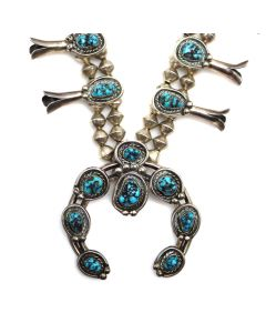 """Roy Vandever - Navajo Lone Mountain Turquoise Nugget and Silver Squash Blossom Necklace c. 1980-84, 27"""" length (J90853B-0221-001)"""