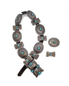 """Navajo Leather, Turquoise, and Silver Concho Belt with Stamped Design c. 1940-50s, 32"""" to 35"""" waist; Includes 2 Additional Separated Matching Conchos (J90854B-0321-002)"""