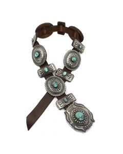 """Tom Charlie - Navajo Turquoise, Silver, and Leather Concho Belt c. 1980s, 35"""" to 37"""" waist (J90867A-1020-017)"""