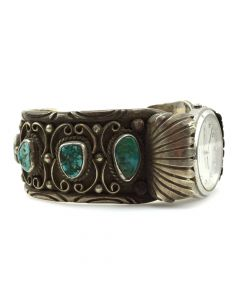Jameson Lee - Navajo Turquoise and Silver Watchband c. 1970s, size 7.25