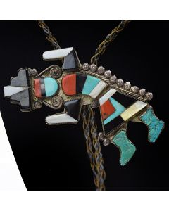 "Zuni Multi-Inlay Stone and Silver Rainbow God Bolo Tie, c. 1957-67, 3.25"" x 2"""