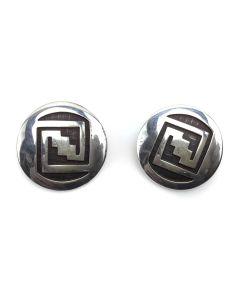 "Bernard Dawahoya (1937-2010) - Hopi Silver Overlay Post Earrings c. 1960-70s, 1.125"" diameter (J91046-0121-012)"