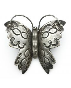 "Navajo Silver Butterfly Pin - United Indian Traders Association, c. 1940s, 2.25"" x 2.25"" (J91046-0215-002)"