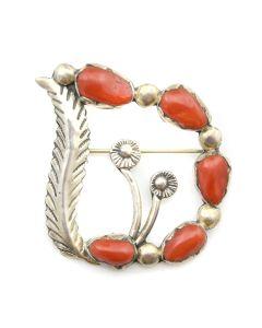 """Carmelita Simplicio - Zuni Coral and Sterling Silver Pin/Pendant c. 1960s, 1.625"""" x 1.75"""""""