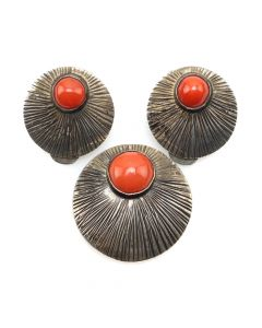 Carlos Diaz - Mexican Coral and Handmade Sterling Silver Pin/Pendant and Earrings Set c. 1960s (J91046-0220-004)