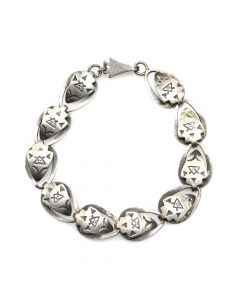 Navajo Silver Linked Bracelet with Stamped Pictorials c. 1940s, size 7 (J91046-0320-007)