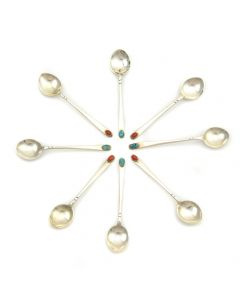 Frank Patania, Sr. & Thunderbird Shop - Eight Demitasse Silver Spoons with Spiderweb Turquoise and Coral c. 1950-60s