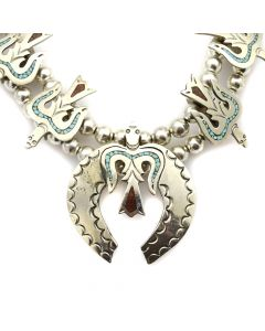 "Navajo Turquoise and Coral Chip Inlay and Silver Peyote Bird Squash Blossom Necklace c. 1970s, 28"" length"